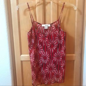 Red flower printed tank top / camisole